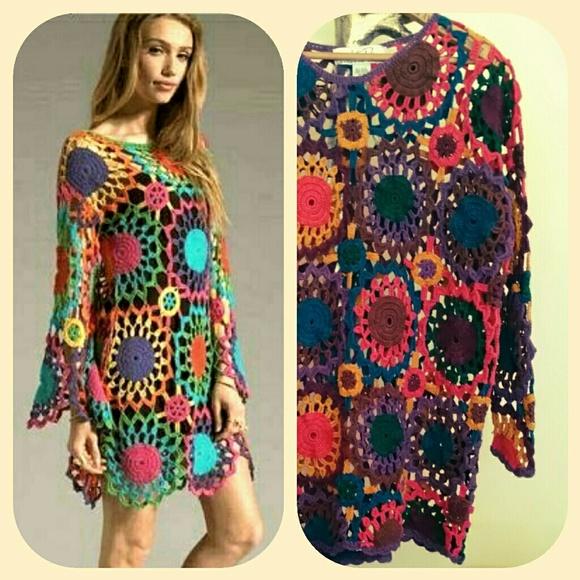 888107a9b5f372 Crocheted Boho Top Multicolored Tunic Sz 14 -16. M_5b6f8262035cf1284aab7909